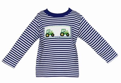 Anavini Velani Infant / Toddler Boys Smocked Green Tractors on Royal Blue Striped Shirt