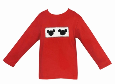 Anavini Infant / Toddler Boys Smocked Mouse Ears on Red Shirt