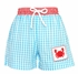 Anavini Infant / Toddler Boys Turquoise Gingham Smocked Crab Swim Trunks