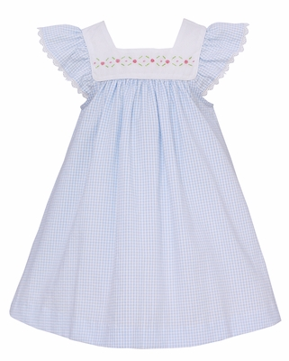 Anavini Infant / Toddler Girls Blue Check Float Dress - Embroidered Flowers