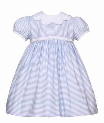 Anavini Infant / Toddler Girls Blue Stripe Dress with Scallop Collar