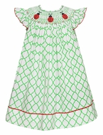 Anavini Infant / Toddler Girls Green Quatrefoil Smocked Red Ladybugs Bishop Dress