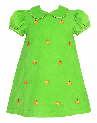 Anavini Infant / Toddler Girls Lime Green Corduroy Embroidery Pumpkins Float Dress
