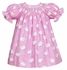Anavini Infant / Toddler Girls Pink Baby Lambs Print Smocked Brushed Cotton Flannel Dress