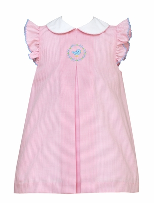 Anavini Infant / Toddler Girls Pink Check Pinafore Dress with Collar - Blue Bird Embroidery