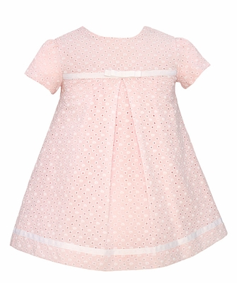 Anavini Infant / Toddler Girls Pink Eyelet Dress with Center Pleat and Bow