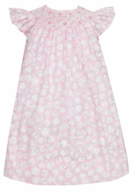 Anavini Infant / Toddler Girls Pink Dot Sheer Voile Smocked Bishop Dress
