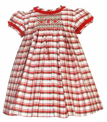 7a514adb3 Anavini Infant / Toddler Girls Red Christmas Plaid Silk Smocked Float Dress