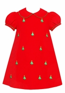 Anavini Infant / Toddler Girls Red Corduroy Float Dress - Embroidered Christmas Trees