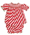 Anavini Infant / Toddler Girls Red / Green / White Candy Cane Striped Smocked Bloomers Set