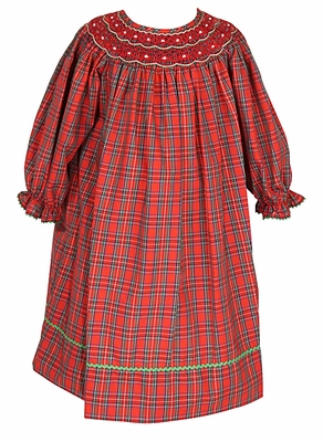 anavini velani infant toddler girls red christmas plaid long sleeved bishop dress