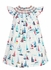 Anavini Infant / Toddler Girls White / Blue / Red Regatta Sailboat Print Smocked Bishop Dress