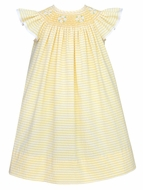 Anavini Infant / Toddler Girls Yellow Stripe Smocked Angel Wing Bishop Dress