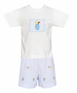 Anavini Toddler Boys Blue Golf Embroidery Shorts with Applique Shirt