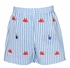 Anavini Toddler Boys Blue Striped Embroidered Crabs / Sand Pails Shorts with Applique Red Shirt