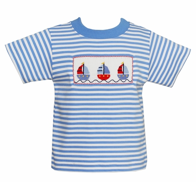 Anavini Toddler Boys French Blue Striped Shirt - Smocked Sailboats