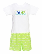 Anavini Toddler Boys Lime Green Waves Shorts with Smocked Whales Shirt