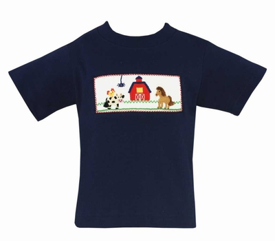Anavini Toddler Boys Navy Blue Shirt - Smocked Farm Animals
