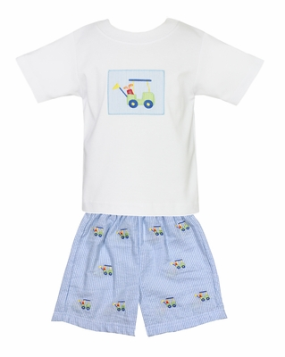 Anavini Toddler Boys White Golf Cart Shirt with Blue Striped Embroidered Shorts