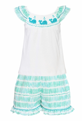 Anavini Toddler Girls Aqua Smocked Whales Ruffle Shorts Set
