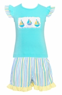 Anavini Toddler Girls Blue / Yellow Striped Ruffle Shorts with Aqua Smocked Sailboats Top