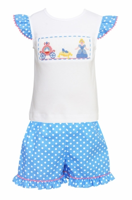 Anavini Toddler Girls French Blue / White Dots Ruffle Shorts with Smocked Cinderella Top