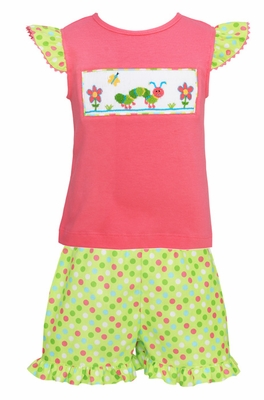 Anavini Toddler Girls Green / Pink Dots Shorts with Smocked Caterpillar Pink Top