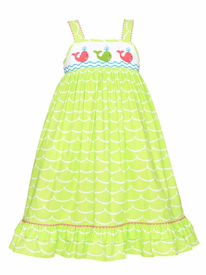 Anavini Toddler Girls Lime Green Waves Smocked Preppy Whales Sun Dress