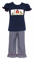 Anavini Toddler Girls Navy Blue Gingham Ruffle Pants with Smocked Farm Animals Top