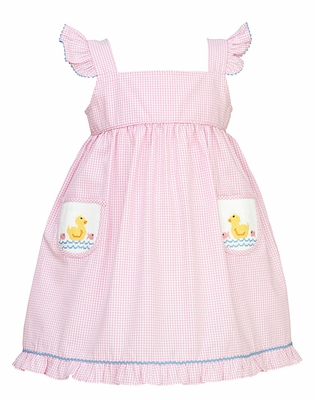Anavini Toddler Girls Pink Gingham Pinafore Dress with Smocked Duck Pockets