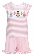 Anavini Toddler Girls Pink Ruffle Shorts withe Striped Smocked Princess Top
