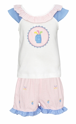 Anavini Toddler Girls Pink Striped Golf Embroidery Shorts with Applique Top
