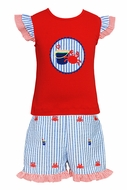 Anavini Toddler Girls Red Applique Top with Blue Striped Embroidered Crabs / Sand Buckets Ruffle Shorts