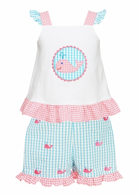 Anavini Toddler Girls Turquoise Gingham Ruffle Shorts - Embroidered Whales - with Applique Whale Top