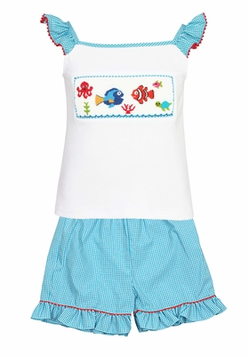 Anavini Toddler Girls Turquoise Gingham Ruffle Shorts with Smocked Nemo / Dory Under the Sea Top