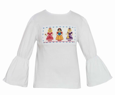 Anavini Toddler Girls White Bell Sleeve Top - Smocked Princess