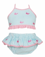 Anavini Girls Turquoise Gingham Embroidered Pink Whales Ruffle Swimsuit - Two Piece