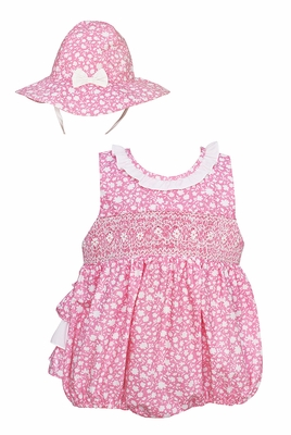 Anavini Velani Baby Girls Pink Floral Smocked Ruffle Bubble with Hat