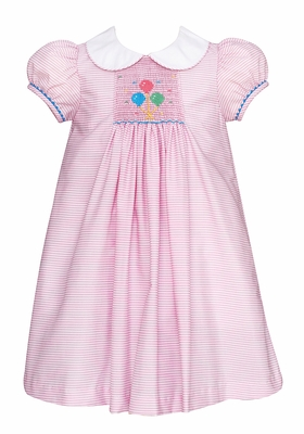 Anavini Velani Baby Girls Pink Stripe Smocked Birthday Balloons Dress - Collar