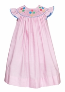 Anavini Velani Baby Girls Pink Stripe Smocked Birthday Balloons Dress - Flutter Sleeves