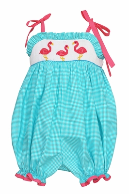 Anavini Velani Baby Girls Turquoise Check Smocked Pink Flamingos Bubble