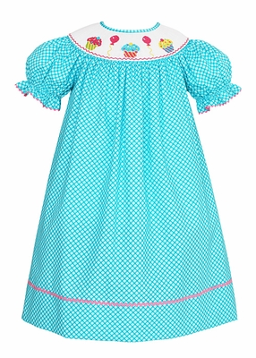 Anavini Velani Baby Girls Turquoise Diamond Print Smocked Birthday Cupcakes Dress