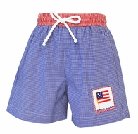 Anavini Velani Baby / Toddler Boys Blue Check Smocked Patriotic Flag Swim Trunks