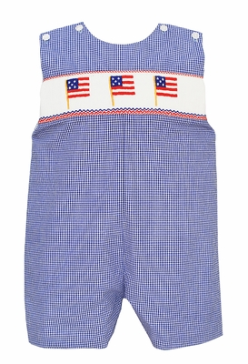 Anavini Velani Baby / Toddler Boys Blue Check Smocked Patriotic Flags Jon Jon