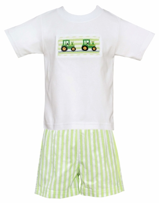 Anavini Velani Baby / Toddler Boys Green Stripe Shorts with Smocked Tractors Shirt