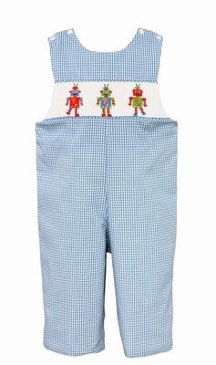 Anavini Velani Baby / Toddler Boys Light Blue Check Smocked Robots Longall