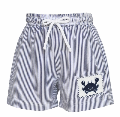 Anavini Velani Baby / Toddler Boys Navy Blue Seersucker Smocked Crab Swim Trunks