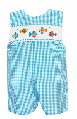 Anavini Velani Baby / Toddler Boys Turquoise Check Smocked Fish Jon Jon