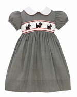Anavini Velani Baby / Toddler Girls Black Check Smocked Scotties Dogs Dress with Sash