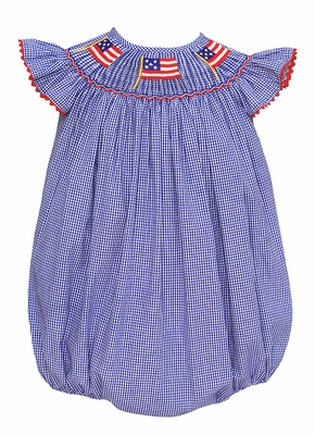 Anavini Velani Baby / Toddler Girls Blue Check Smocked Patriotic Flags Bubble